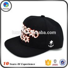 100 acrílico flat brim bordado snap back chapéu