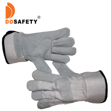 Cow Split Leather Gloves with Full Palm White Cotton Back Rubberized Cuff Ab Grade