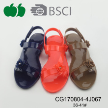 Lady Beautiful Fashion Design Flat Pvc Jelly Sandals