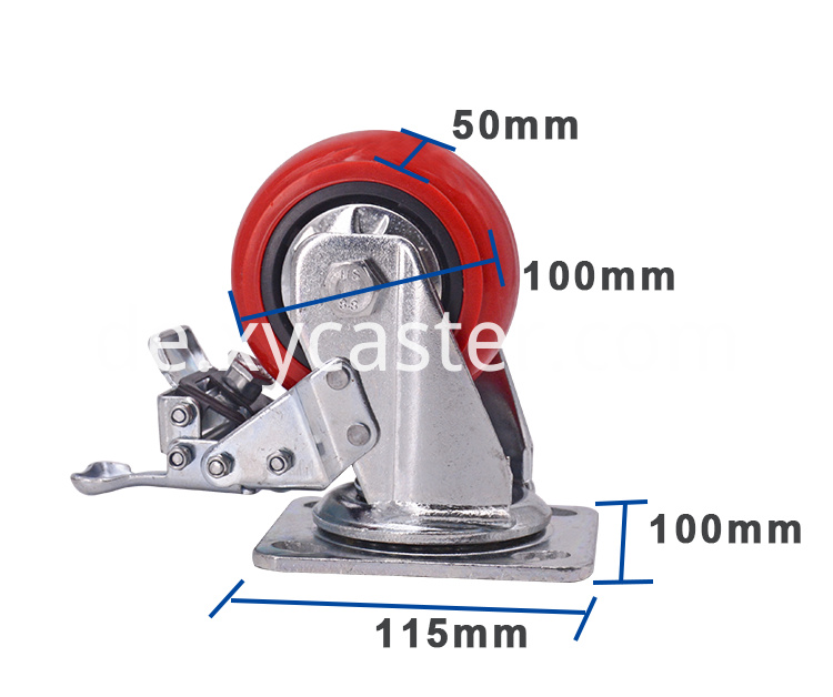 4 Inch Caster Red Pvc Wheel With Brake