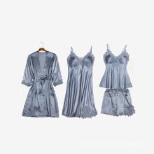 High quality Custom logo 4piece pcs Long sleeve Sleepwear pajama pajamas clothing for Women