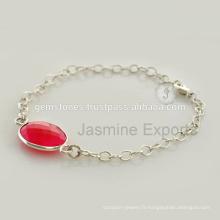 Fournisseur de gros pour la pierre de calcédoine Bracelet en argent de pierre gemme pour cadeau de Noël