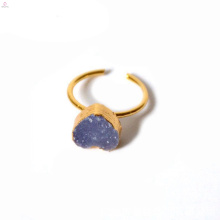 Natural Heart Open Crystal Druzy Raw Stone Ring