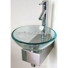 Pequeno lavatório de vidro de parede de canto limpo