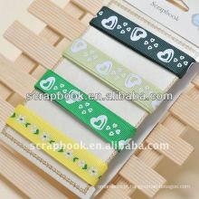 fita cor de fita de seda verde impresso