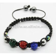 2012 jóia batida, handmade tecido shamballa pulseira de esferas de cristal