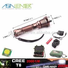 T6 10w 2000 lúmenes linterna potente del LED con 18650 caja de regalo de la batería embalada