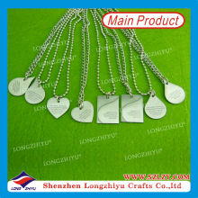 Engraved Custom Shape Metal Ball Chain Dog Tag