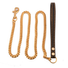 Custom 10mm Stainless Steel Leather Traction Rope Golden Stainless Steel Cuban Chain Dog Chain Medium Dog Leather
