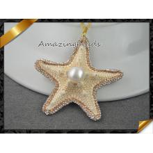 Приманка перлы природы Starfish, с глянцеватыми кристаллическими ювелирными изделиями привесного ожерелья Rhinestone, шкентелем раковины (EF097)