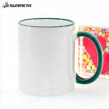 Factory directly 11oz rim and handle color blank sublimation heat press machine