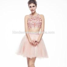 OEM Proveedor Último Diseño Halter Mini Elegante Vestido de Noche Con Cuentas Para Las Mujeres