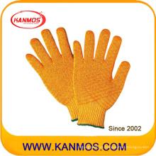 Poliéster acrílico Criscross tejido guantes de trabajo de seguridad industrial (61011AP)
