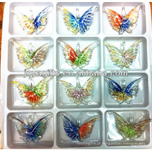 Art Lampwork pingente de borboleta de vidro com cor dupla