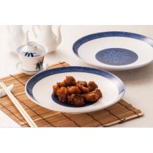Assiette ronde en mélamine bleue et blanche / en mélamine (13827-10)