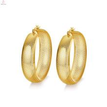 Золото большой круг серьги сетки,большой круглый золото сетки серьги