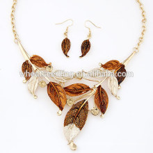 European American fashion metal bohemia simple painting leaves necklace earring set