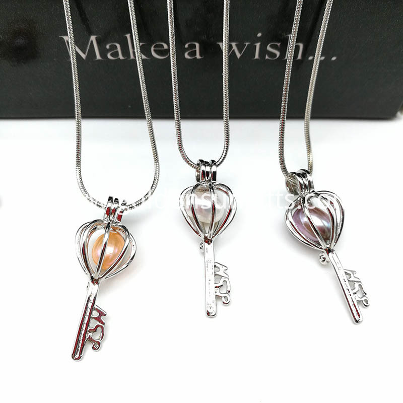Key Locket Cage Charms Necklaces Pendants