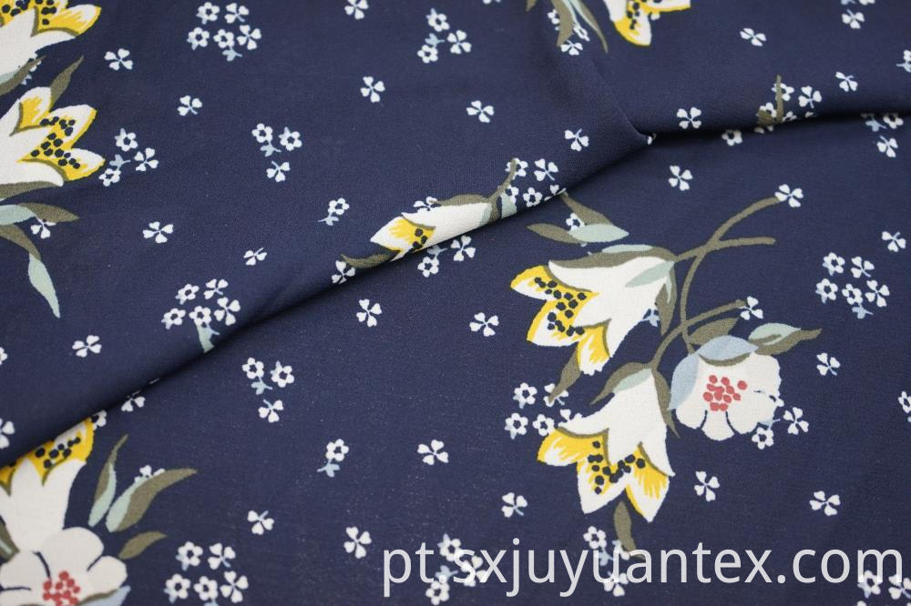 Polyester Lily Print Moss Crepe Fabric