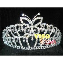 Moda linda borboleta de cristal acessório de cabelo tiara