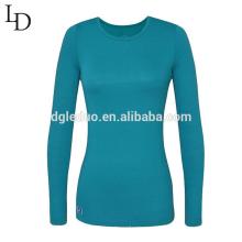 Camiseta de manga larga apretada atractiva llana barata al por mayor barata de las mujeres