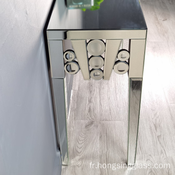 table console ronde à miroir transparent