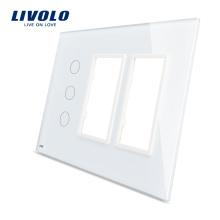 Livolo Blanc 170mm * 125mm Panneau Standard En Verre Triple Vitrage À Vendre Pour Prise De Commutateur Tactile VL-C5-C3 / SR / SR-11