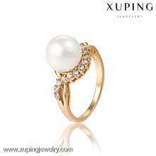 13189- Xuping Beautiful Pearl Jewelry Gold Ring Design With Top Quality