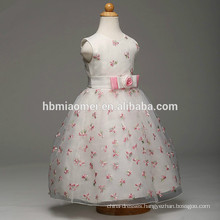 Wholesale fashion high quality white color flower girl dress one pcs party wear girls puffy party dress