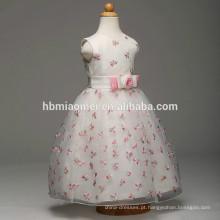 Atacado moda de alta qualidade cor branca vestido da menina de flor um pcs partido desgaste meninas vestido de festa inchado