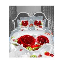 3D Casamento Rosa Vermelha Duvet Cover Bedding Sets Hot Selling Products em 2015