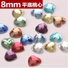 Corazón colorido plano espalda piedras cuentas para la joyería