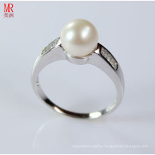AAA Grade Natural Pearl Ring with Zircon (ER1605)
