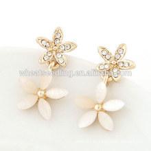Diseños de cristal de la flor para las muchachas pendientes del perno prisionero pequeños pendientes del oro