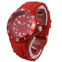 Red Passion Rotating Bezel Silicone Strap Watch