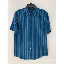 Camisa de rayas azules y blancas para hombre con botones