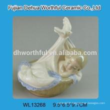 Lovely bassinet baby design white ceramic decoration
