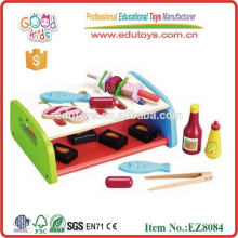 Child Wood Play Kitchen Set Toy Bbg Grill