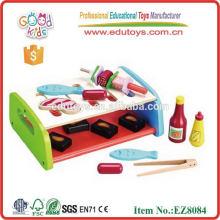 Child Wood Play Kitchen Set Toy Bbg Grill