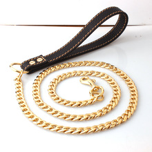 Custom Drop Shipping Dog Leashes Dog Chain Collars Stainless Steel Pet Leash Chain With Leather Padded Handle