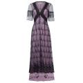 Belle Poque Sexy Women's Retro Vintage Half Sleeve V-Neck Black Lace Victorian Style Dress BP000247-1