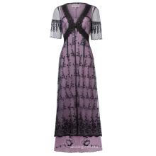 Belle Poque Sexy Frauen Retro Vintage Half Sleeve V-Ausschnitt Schwarz Spitze Viktorianischen Stil Kleid BP000247-1