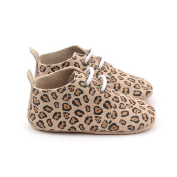 Leopard Back Tape Soft Sole Baby Oxford Shoes