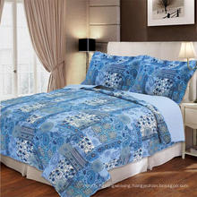 Comfortable Blue Pattern Printing Cotton Patchwork Bedding Quilt (WSPQ-2016012)