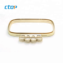 Factory wholesale high quality hardware accessories gold rhinestone clasp frame metal clasp for purse metal purse frame clutch