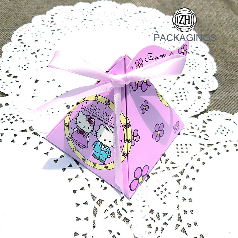 Mini Pink Pyramid Wedding Paper Candy Box