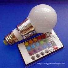 RGB Aluminum E27 3w LED pear shaped led bulb