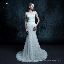 ZXB27 Mermaid Backless Lace Up Beads Longueur du sol Court Train Long Robes Custom Made New Wedding Dress