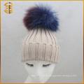 China Genuine Waschbär Custom Pom Pom Knit Hut für Erwachsene