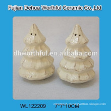 Salero y pimienta de cerámica de alta calidad del árbol de navidad